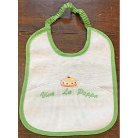 Bavaglia neonato col. Bianca e verde mela con muffin