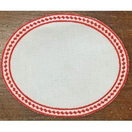 Ovale 6 in Tela Aida - col. Bianco con contorni rossi