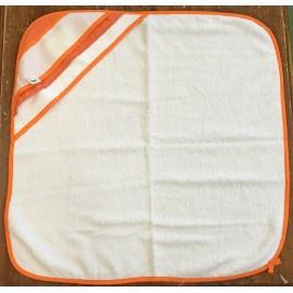 Accappatoio neonato col. Bianco con rifiniture arancioni
