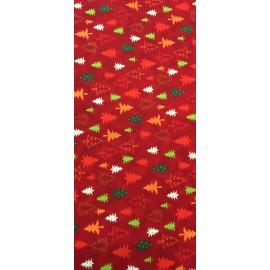 Tessuto americano natalizio - col. Rosso con abeti