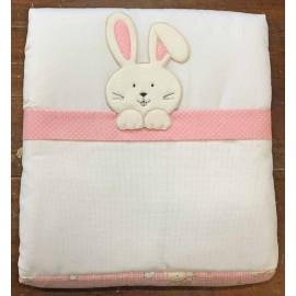 Trapuntina per culla - Rosa con coniglietto