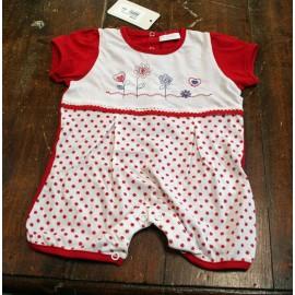 Tutina intera neonata 6/9 mesi, rosso