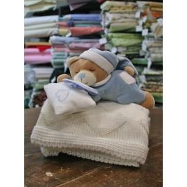 Set Orsetto Peluche e copertina in lana col. Azzurro