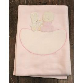 Copertina da lettino con Coniglietto e Bimbo- col. Rosa
