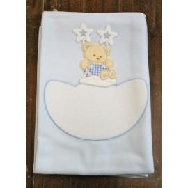 Copertina da lettino con Orsetto su altalena - col. Azzurro