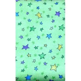 Tessuto flanella col. Verde con stelle