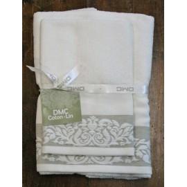 Coppia asciugamani da bagno misto lino col. Bianco ed ecrù
