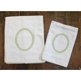 Coppia asciugamani da bagno col. Bianco e verde