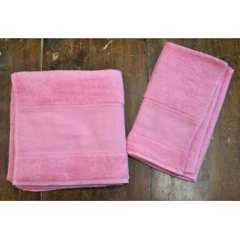 Coppia asciugamani da bagno col. Rosa