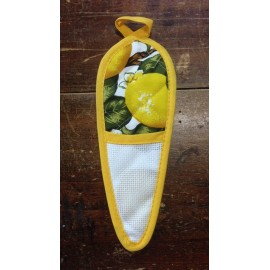 Porta forbici col. giallo con limoni