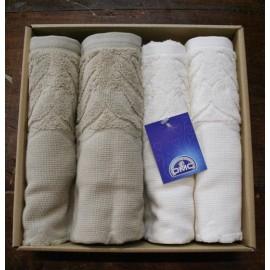Set quattro asciugamani da bagno spugna col. Bianco/Ecrù