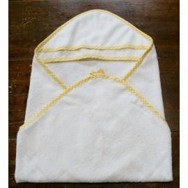 Accappatoio neonato col. Bianco con bordino giallo