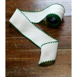 Bordo tela aida 55 fori h 5 cm - Col. Bianco/Verde scuro