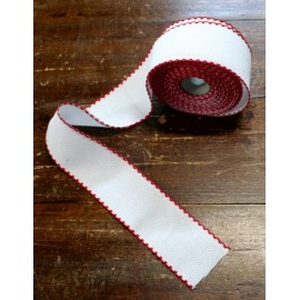 Bordo tela aida 55 fori h 5 cm - Col. Bianco/Rosso