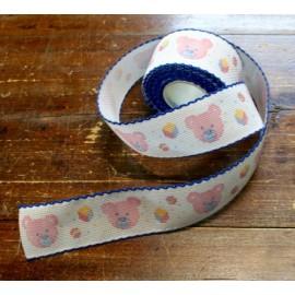 Bordo tela aida 55 fori h 5 cm - Col. Bianco con orsetti