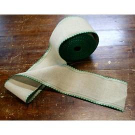 Bordo lino h 10 cm - Col. Ecrù/Verde