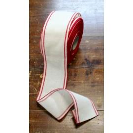 Bordo lino h 10 cm - Col. Bianco/Rosso-Oro