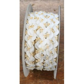 Trimmings h 0.80 cm, white with flowers beige