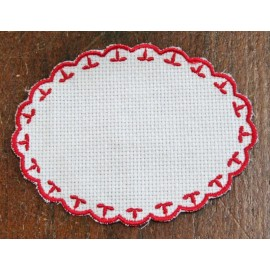 Oval 2-in-Aida fabric - col. White with red outlines