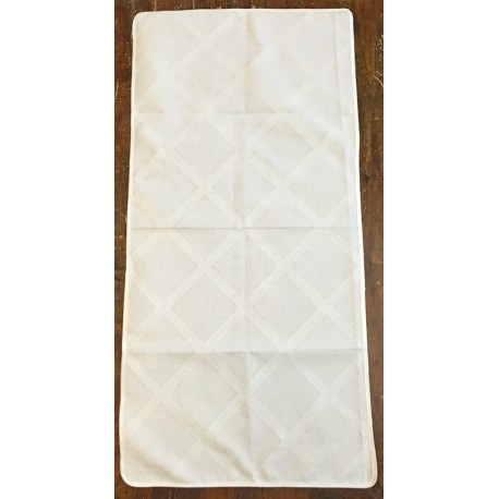 Runner fabric, damask, checkered - col. White