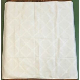 Placemat centerpiece in damask squares - col. White