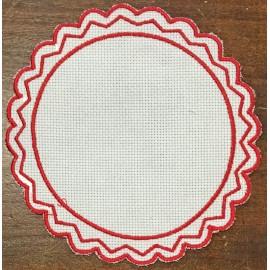 Tondo 2 in Tela Aida - col. Bianco con contorni rossi