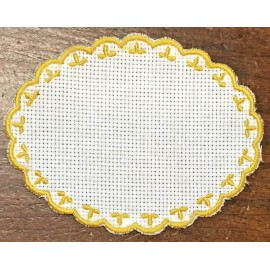 Oval 2-in-Aida fabric - col. White contours in ochre