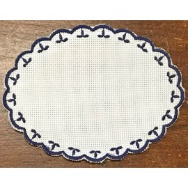 Oval 2-in-Aida fabric - col. White contours in blue