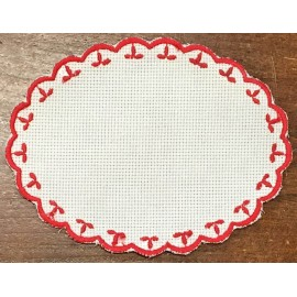 Oval 3-in-Aida fabric - col. White with red outlines