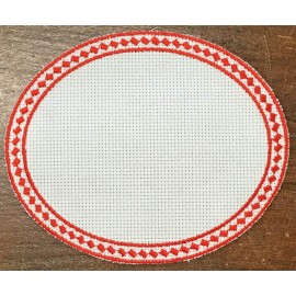 Oval 5-in-Aida fabric - col. White with red outlines