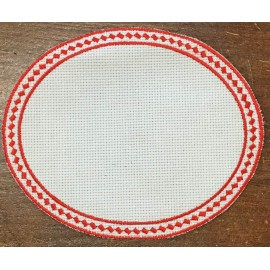 Oval 6-in-Aida fabric - col. White with red outlines