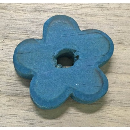 Wood Base in the shape of a flower with the. Cobalt blue