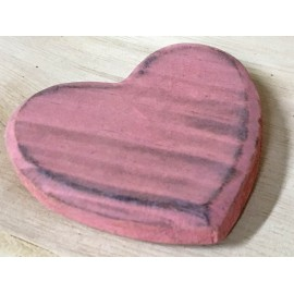 Wood Base in the shape of a heart with. Pink