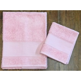 "Couple towels from the bathroom, ""Francesca"" col. Pink"