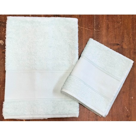 "Coppia asciugamani da bagno ""Francesca"" col. Verde"