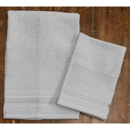 """Coppia asciugamani da bagno """"Fabiola"""" col. Grigio perla"""