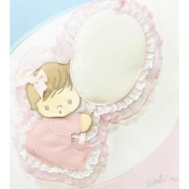 Coccarda nascita a forma di palloncino con bimba col. Rosa