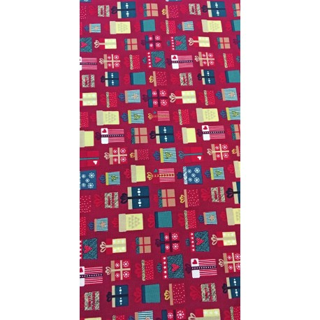 Fabric american christmas - col. Red with gifts