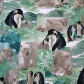 Fleece fabric patterns - polar bears and penguins