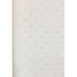 Canvas Aida Impressions - col. White polka dot pink