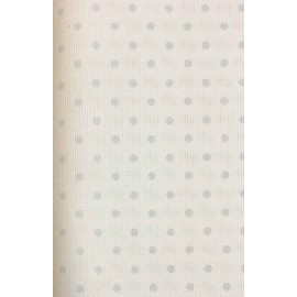 Canvas Aida Impressions - col. White polka dots blue