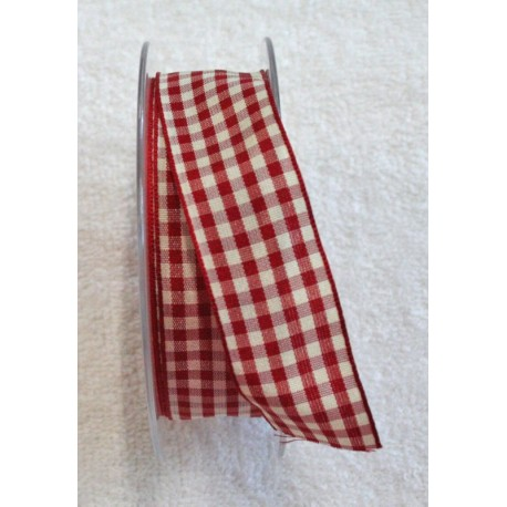 "Tape with print-checkered fabric red - ""The Tapes Mirta"""