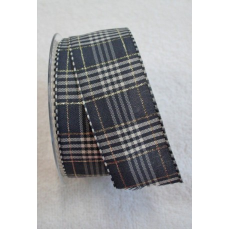 """A tape with a scottish print grey, white and gold 4-cm - """"Tapes Mirta"""""""