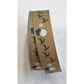 """Tape with print Santa Claus sleigh grey - """"The Tapes Mirta"""""""