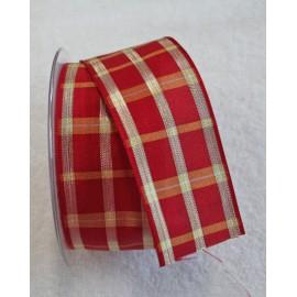 Nastro con stampa scozzese rosso/oro da 4 cm - 'I Nastri di Mirta'