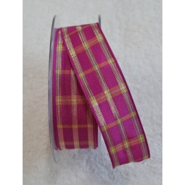 "Tape with printed plaid fuchsia/gold 2.5-cm - ""Tapes Mirta"""