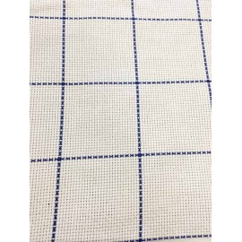 Aida fabric, square-h-150 - col. White and blue