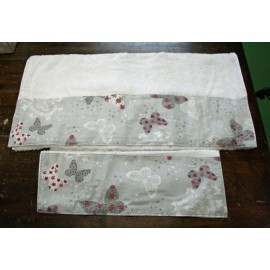 Couple bath towels with butterflies