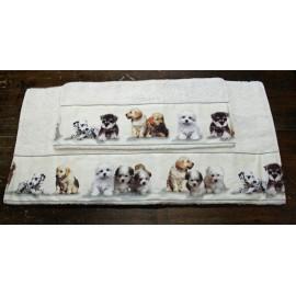 Coppia asciugamani da bagno con cani