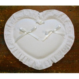 Ring bearer pillow Heart with. White